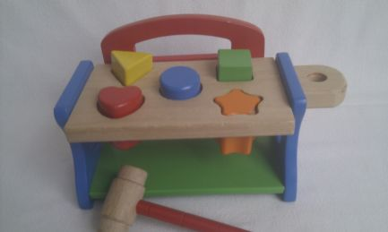 Adorable My 1st 'Baby Hammer Wooden Bench Shape Sorter Toy'